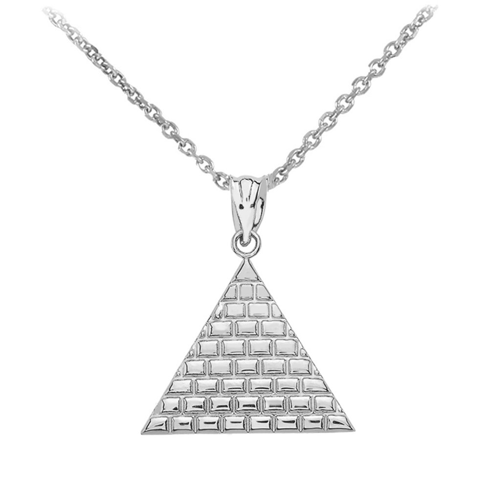 High Polish Sterling Silver Ancient Egyptian Pyramid Triangle Pendant Necklace