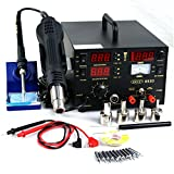 Super Deal 3 in 1 Hot Air Iron DC Power SupplySoldering Iron Station Hot Air Rework Station Welder (853D)