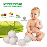 "Wool Dryer Balls XL 6 Pack 2.95"", 100% Organic New Zealand Natural Fabric Softener, Hypoallergenic Baby Safe & Unscented, Reduce Wrinkles & Static Cling, Shorten Drying Time by Kintor"
