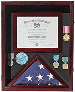 """product image for Flag Display Case Pin Medal Shadow Box with Certificate/Letter Holder for 3 x 5 ft Presentation Flag, 21.75"""" H X 17.5"""" W Overall"""