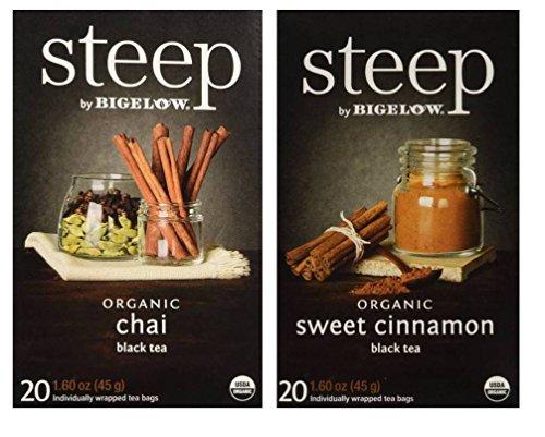 (Steep By Bigelow Organic Black Tea 2 Flavor Variety Bundle: (1) Bigelow Organic Chai Black Tea, and (1) Bigelow OrganicSweet Cinnamon Black Tea, 1.60 Oz Ea)