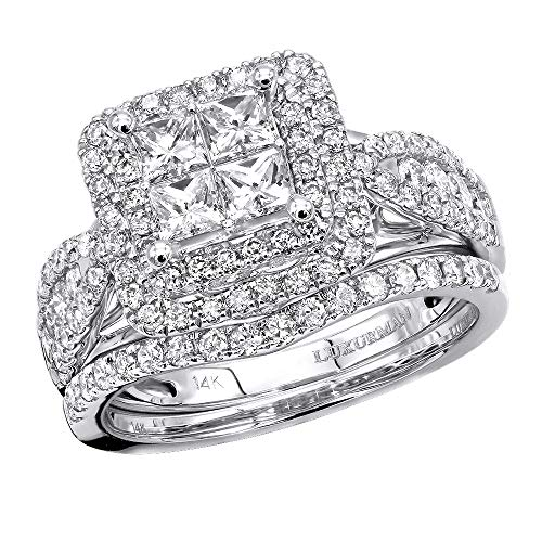14k Gold Princess Cut Diamond Engagement Ring & Band Bridal Sets 1.8 ctw (White Gold, Size - Flower Diamond Bridal Set