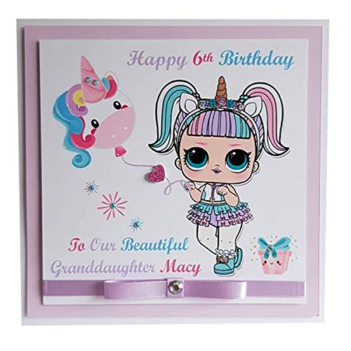 Personalised Unicorn Lol Doll Happy Birthday Card Personalise With Name And Age Girls Greeting Card Handmade Layered 2d Lol Surprise Doll