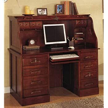 Amazon Com Roll Top Home Office Computer Desk In Cherry