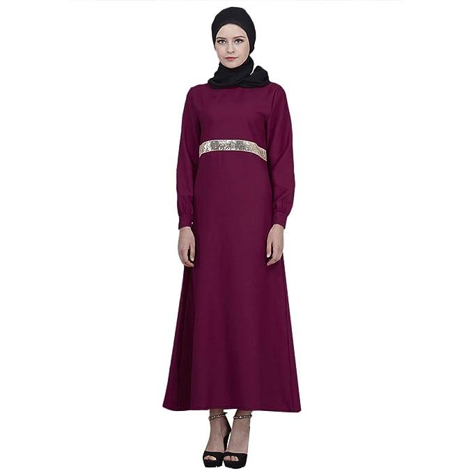 NPRADLA Large Falda Vestido de Mujer Musulmana Lentejuelas de ...