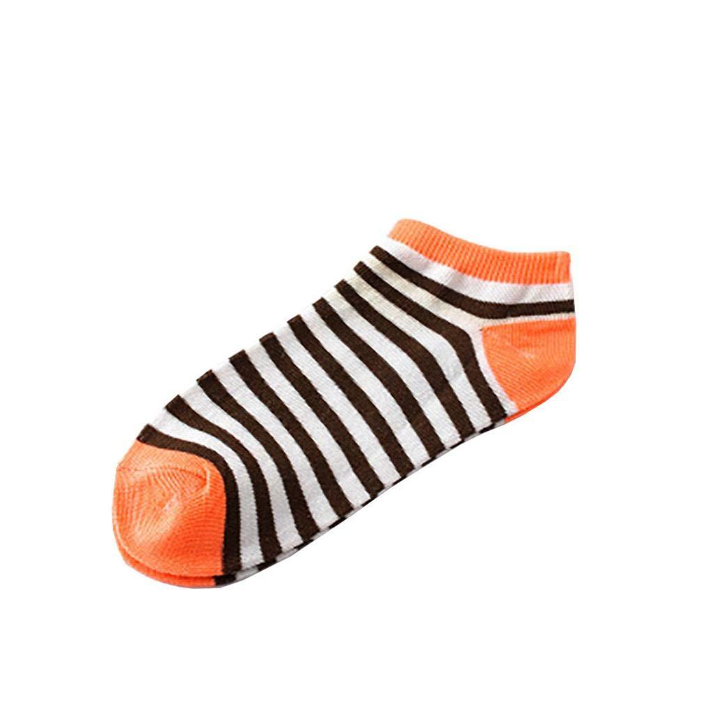 1 Pairs Girl Lovely Stripe Cotton Crew Sock Unisex Comfortable Slippers Short Ankle Socks (Orange)