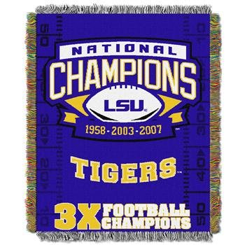 The Northwest Company Officially Licensed NCAA LSU Tigers Commemorative Woven Tapestry Throw Blanket, 48