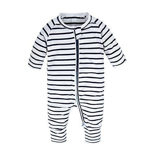 Footless Romper - BIG ELEPHANT Baby Boys'1 Piece Long Sleeve Sleepwear Graphic Print Zipper Romper Stripe T80-90 12-18 Months