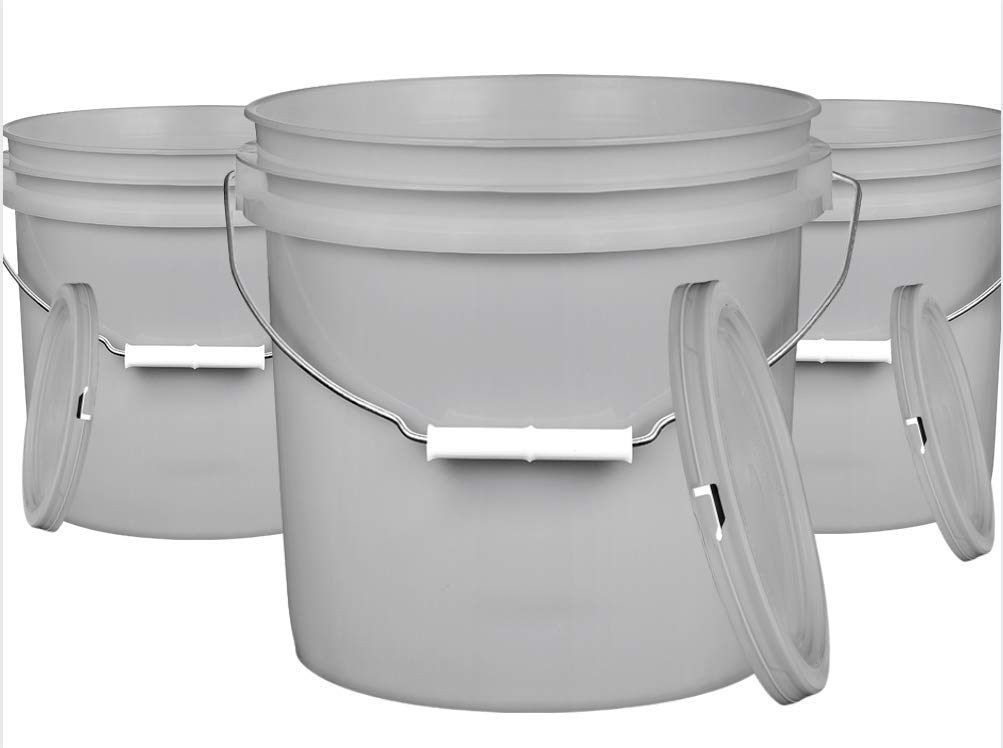 House Naturals 2 Gallon Gray Food Grade Plastic Bucket Pail BPA Free with lid (Pack of 4) Made in USA