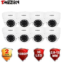 TMEZON 8 Pack HD-CVI 1/2.9 2.0 Mega pixel Color IR CCTV Security Weatherproof Camera 1080P 2.8-12mm Zooms 36pcs Infrared Lens HD Indoor/Outdoor 99ft IR Distance Compatible with HD CVI DVR