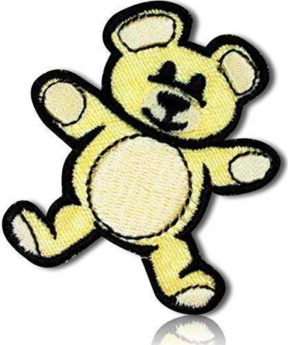 """Unique & Custom {1.75"""" x 2"""" Inch} 1 of [Glue-On, Iron-On & Sew-On] Embroidered Applique Patch Made of Natural Cotton w/Soft Plush Childhood Toys Cute Animal Teddy Bear {Tan, Black} + Certificate"""