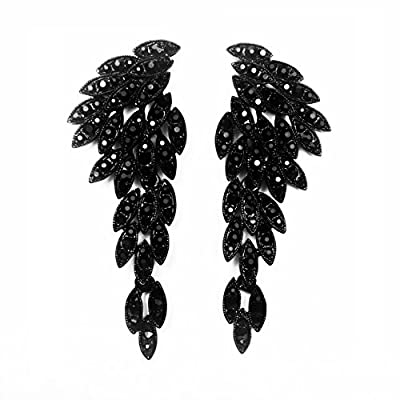 LARGE Angel Wings Eagle Wings Rhinestone Studded Statement Earrings Gold Black Dangling Earrings Wedding Bridal Prom Chandelier Long Drop Earrings for Women