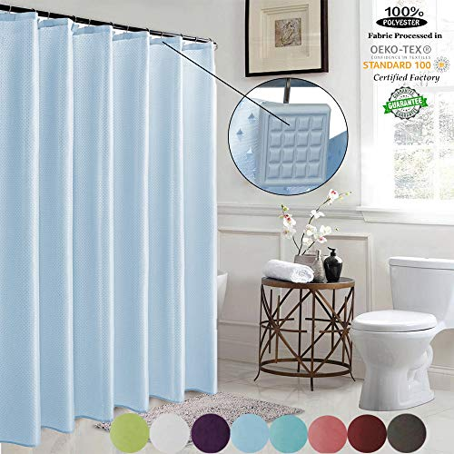 Liners Light Cloth - ROYACOR Shower Curtain Mildew Resistant with Polyresin Hooks, Water-Repellent Rustproof, 72''x72'' Non Toxic 100% Durable Polyester Shower Curtain Liner,Washable,Easy to Install-Light Blue