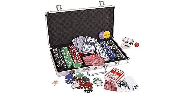 HUDEMR Fichas Fichas de Poker Poker Set Set Dados Naipes Conjunto de Chips Dados Estilo de póquer con Estuche Poker Set 300pc 11,5 g fichas de Juego fichas (Color : Brown, Size :