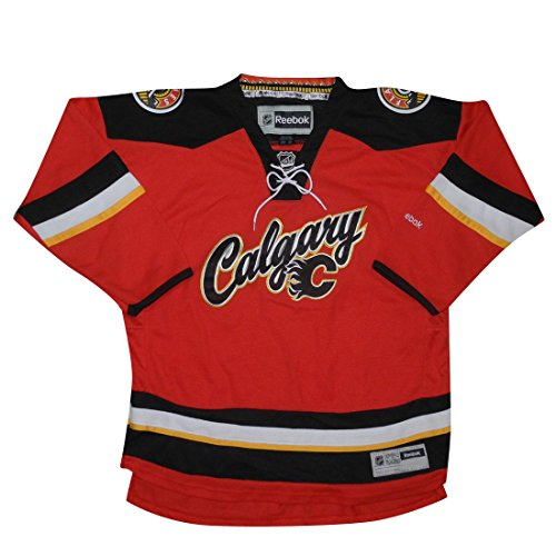 Boys NHL - CALGARY FLAMES Hockey Jersey / Sweater with Embroidered Logo S/M Red (Outdoor Fabric Calgary)