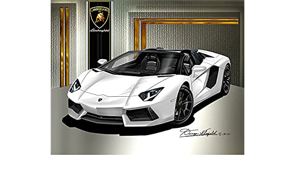 "19/"" x 13/"" Poster Lamborghini Aventador Orange Tron Digitized Supercar"