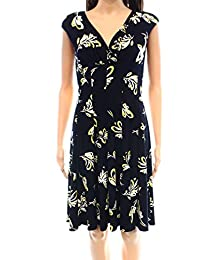 Lauren Ralph Lauren Yellow Womens Petite Sheath Dress Blue 8P