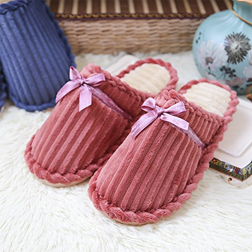 Pantoufles Chaussons Hommes Hiver Peluche Xfentech Confortable Femmes Chaussures Chaud Rose femmes Coton wEUIUOxnCq