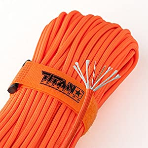 Titan SurvivorCord | Safety-Orange | 103 Feet | Patented Military Type III 550 Paracord/Parachute Cord (3/16