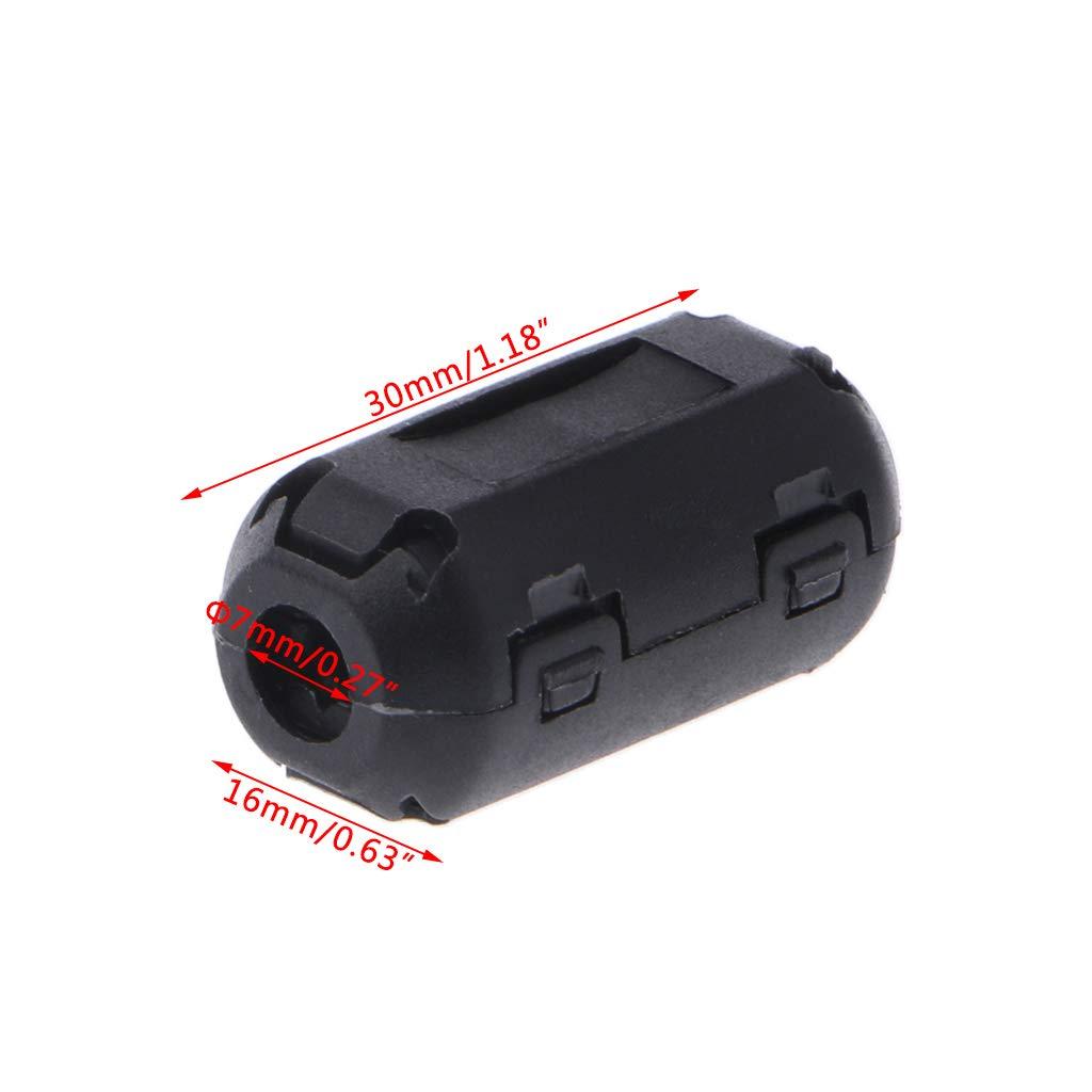 Noir JOYKK Clip de Fixation sur ferrite avec Noyau de Filtre antiparasite RFI EMI pour c/âble de 7 mm