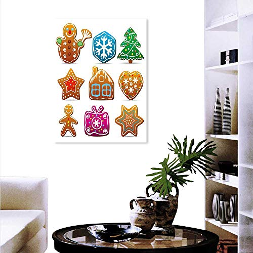 Gingerbread Man Wall Art Canvas Prints Set Nine Gingerbread Cookies Cartoon Style Delicious Looking Pastries Modern Wall Art Living Room Decoration 16
