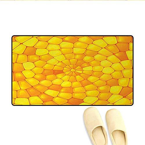 (Doormat,Abstract Stained Irregular Glass Mosaic Patterns Inspired Decor Illustration,Bath Mats Carpet,Orange Yellow,Size:24