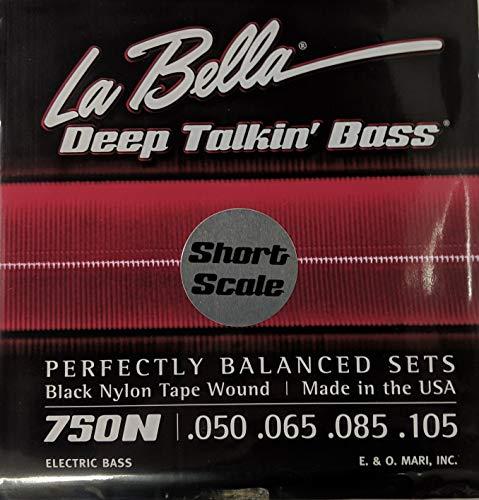 - LaBella 750N-S Short Scale Deep Talkin' Bass Electric Guitar String Set - Black Nylon Tape Wound