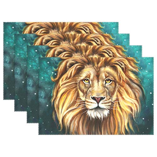 GPUnfdvc King Lion Aslan Placemats, Heat-Resistant Placemats Stain Resistant Anti-Skid Washable Polyester Table Mats Non Slip Easy Clean Placemats, 12