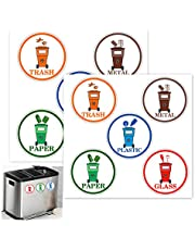 4 inch Recycling Sorting Sticker Garbage Trash Recycle Decal Stickers Organize & Coordinate Garbage Waste from Recycling for Home Kitchen & Office Trash Cans
