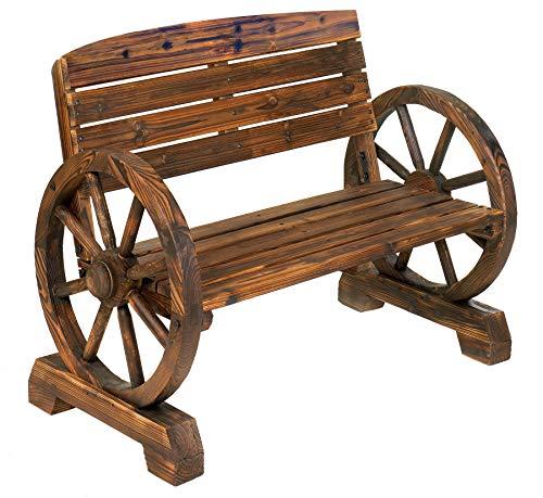 Rustic Wood Design Home Garden Wagon Wheel Bench Decor (Wood And Furniture Garden Metal)
