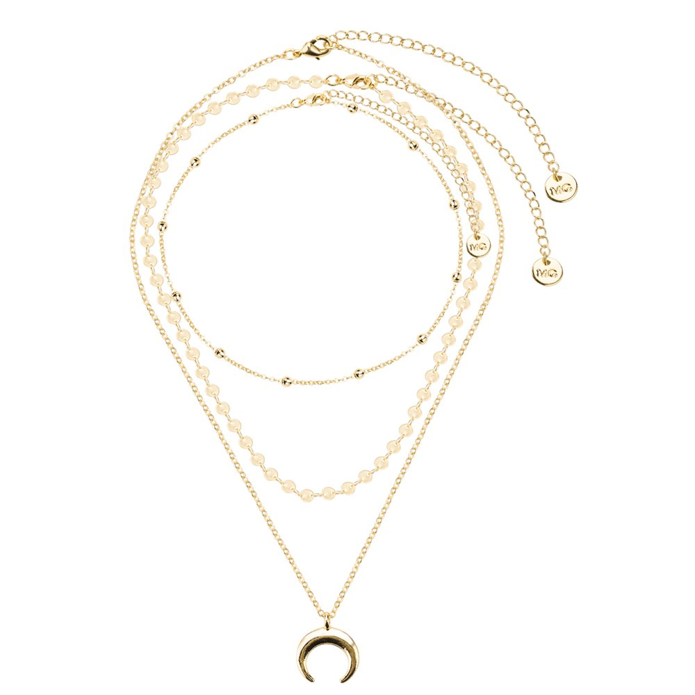 ZIXUAN Lucky Moon Star Pendant Choker Necklace Sequins Layered Chain Gold Chokers for Women Wedding Birthday Valentine's Day