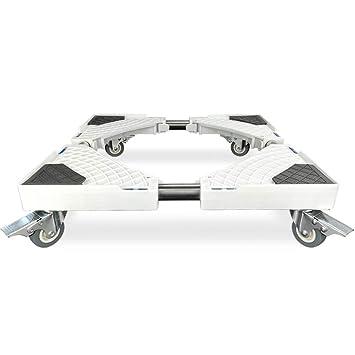 LBLWXH Base Móvil De Lavadora,Base con Ruedas para Cocina Lavadoras, Ruedas De Freno Móvil De Base Ajustable para Electrodomésticos,4*Brake(Single-Wheel): ...
