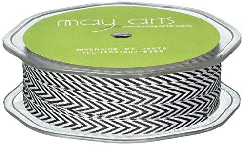 May Arts Chevron Stripe - May Arts Twill Chevron Stripes Ribbon, 0.25-Inch by 50-Yard, Black