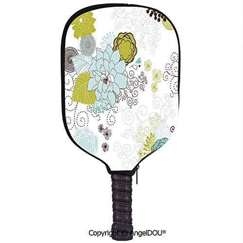 (AngelDOU Floral Lightweight Neoprene Pickleball Paddle/Racket Cover Case Pastel Pattern Romantic Ornament Components Petals Leaves Swirls Decorative Durable and Portable.Baby Blue Yellow Green Mint)