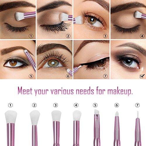Becoyou Eyeshadow Brush Set, 7Pcs Eye Shadow Brushes Set for Blending Eyeliner Eyebrow with Organizer Bag , Purple
