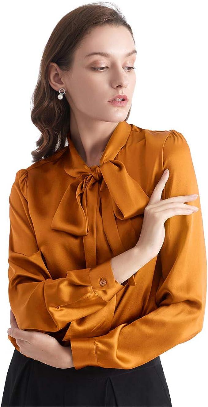 LilySilk blusa de seda con lazo y cuello de lazo, 100 blusa de seda para mujer, 22 momme