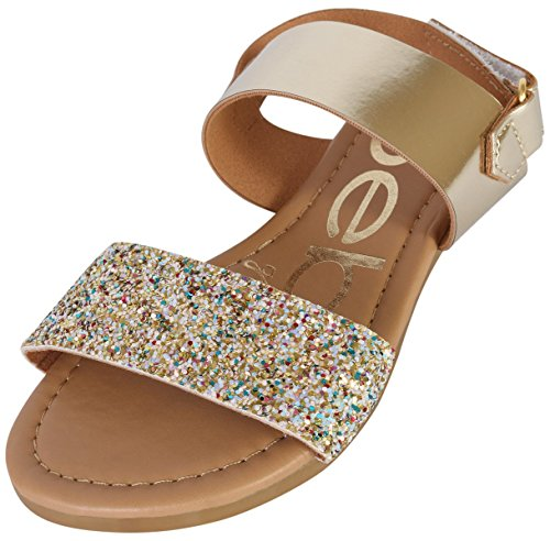 bebe Girls Metallic Sandals with Chunky Glitter Strap, Gold/Multi, 4 M US Big Kid' -