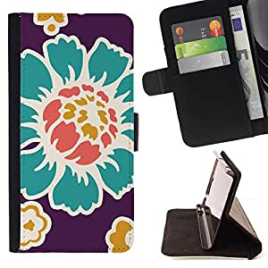 Momo Phone Case / Flip Funda de Cuero Case Cover - Antiguo papel tapiz de flores del trullo púrpura - Sony Xperia M2
