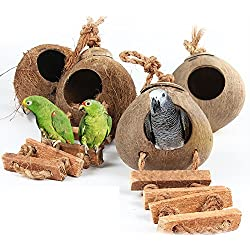 Viet-GT Bird Toys - Wood Climbing Ladder Grinded Coconut Shell Pet Bird Toy Macaw Cockatiel Parrot Hamster Climb Bell Swing Bite Toy Pet Product 1 PCs