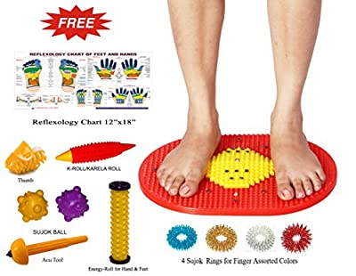 Acupressure Mat Bumper with Magnets Pyramids for Pain Relief and Total Health 14x10 Inches