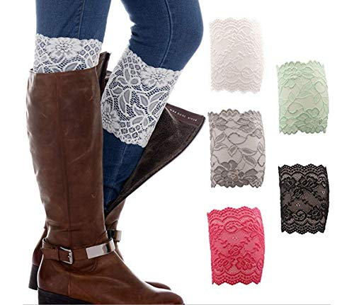 - Geoot Womens 5 Pairs Stretch Lace Boot Leg Cuffs Soft Laced Boot Socks (5 color)