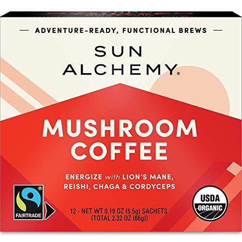 Sun Alchemy Mushroom Coffee, Energize with Organic Fair-Trade Coffee, Lion's Mane, Reishi, Chaga & Cordyceps Mushrooms - 12 Sachets ()