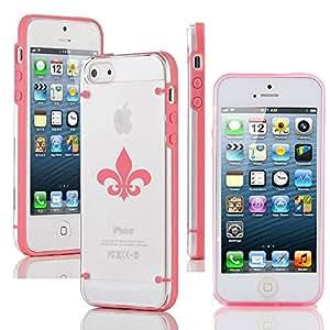 Apple iPhone 5c Ultra Thin Transparent Clear Hard TPU Case Cover Fleur De Lis (Pink)