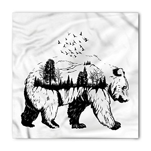 Lunarable Unisex Bandana, Cabin Bear with Forest Trees Birds, White Charcoal