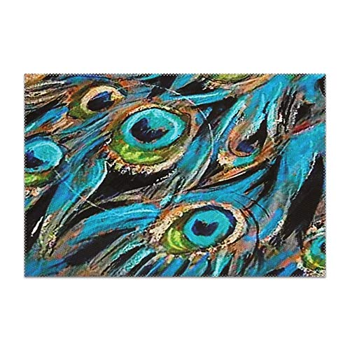 YLJH Placemats, Heat-Resistant Placemats Stain Resistant Anti-Skid Washable Polyester Table Mats Placemats, Watercolor Peacock ()
