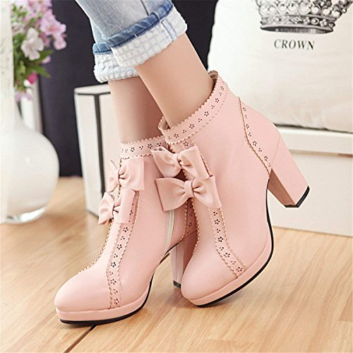 Boots Heel Heels Bow Shoes Sweet Winter Autumn Zip Ankle Womens Platform Pink Block High Coolulu 0FqfEF