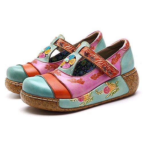 Socofy Wedges Sandaler, Kvinders Farverige Blomst Vintage Slip-on Lædersko Platform Sandal Himmelblå # 4