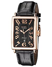 Gevril Men's 'Avenue of Americas' Automatic Gold-Tone and Leather Casual Watch, Color:Black (Model: 5162)