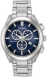 Men's Citizen Eco-Drive Chronograph Stainless Steel with Blue Dial Watch AT2170-54L