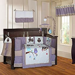 BabyFad Owl Purple Unisex 10 Piece Baby Crib Bedding Set